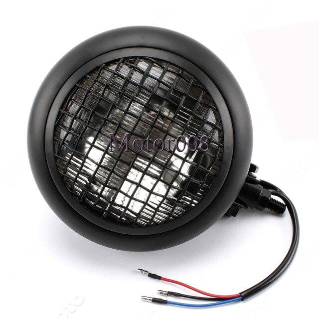 Grill Beleuchtung | Schwarz Mesh Grill H4 55 Watt Retro Scheinwerfer Motor Scheinwerfer