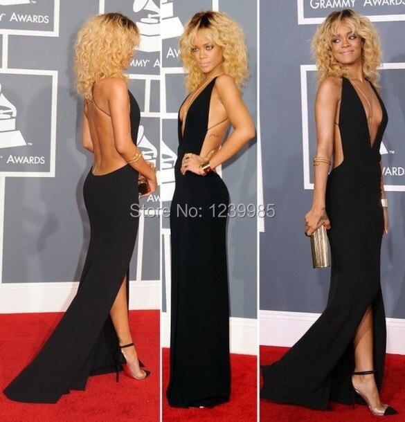 2016 Black Rihanna Dresses Grammy Halter Open Back Front Slit Sexy Deep V  Neckline Black Celebrity Dresses Long Party Dress 3d8e527a7
