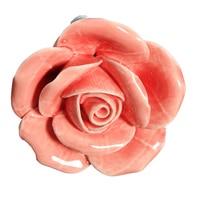 2 x Button Door Handle Drawer Cabinet Closet Ceramic Flower Rose Dresser Knob Pink