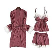 Lisacmvpnel 3 pçs conjunto de roupão de seda gelo rendas sexy roupão de banho cinta de espaguete com almofada no peito camisola + robe + shorts pijama para mulher