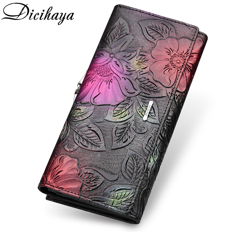 DICIHAYA 2019 Genuine Leather Women Wallets Luxury Brand Design High Quality Fashion Female Purse Card Holder Long Clutch Bag