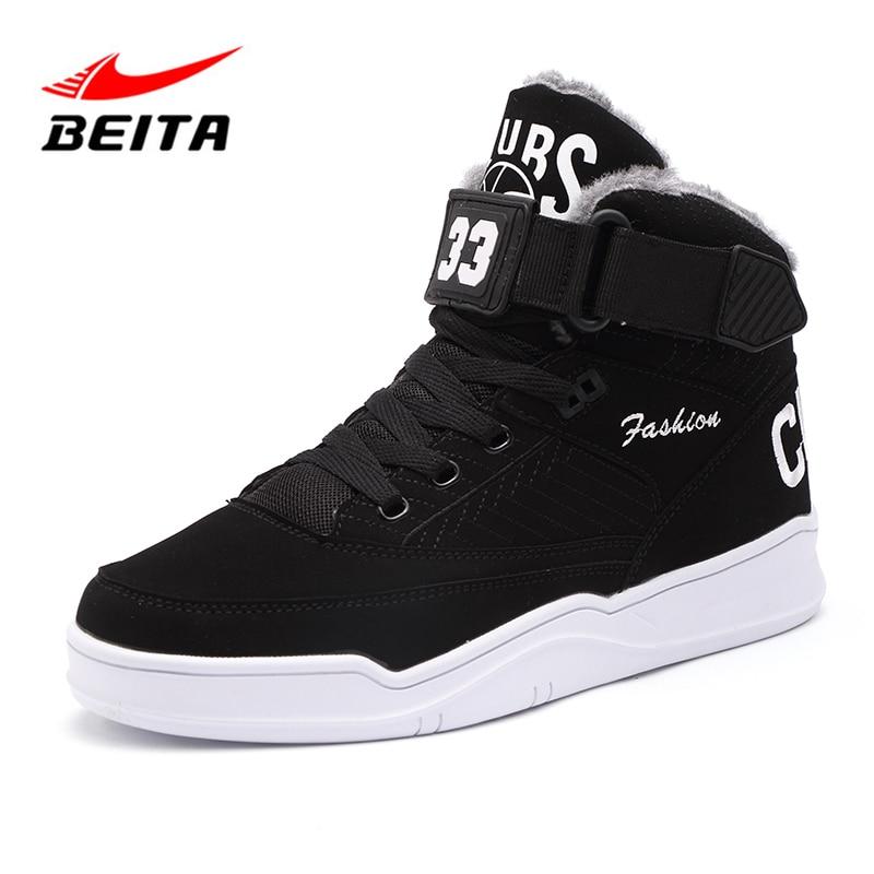 Beita 2018 Winter Men Running Shoes Winter New Arrival Fur Comfortable Lace Up Sneakers for Men Outdoor Non-slip Sport Shoes Men цена