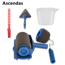 Ascendsa 6Pcs/Set Paint Roller Runner Pro Brush Handle Flocked Edger Kit for Home Office Building Wall Painting