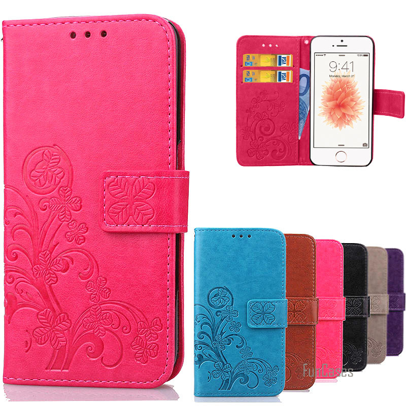 For iPhone 5S Flower Printing Luxury PU Leather + Silicon Stand Wallet Flip Cover Phone Case for iPhone 5 5S SE with Card Slots