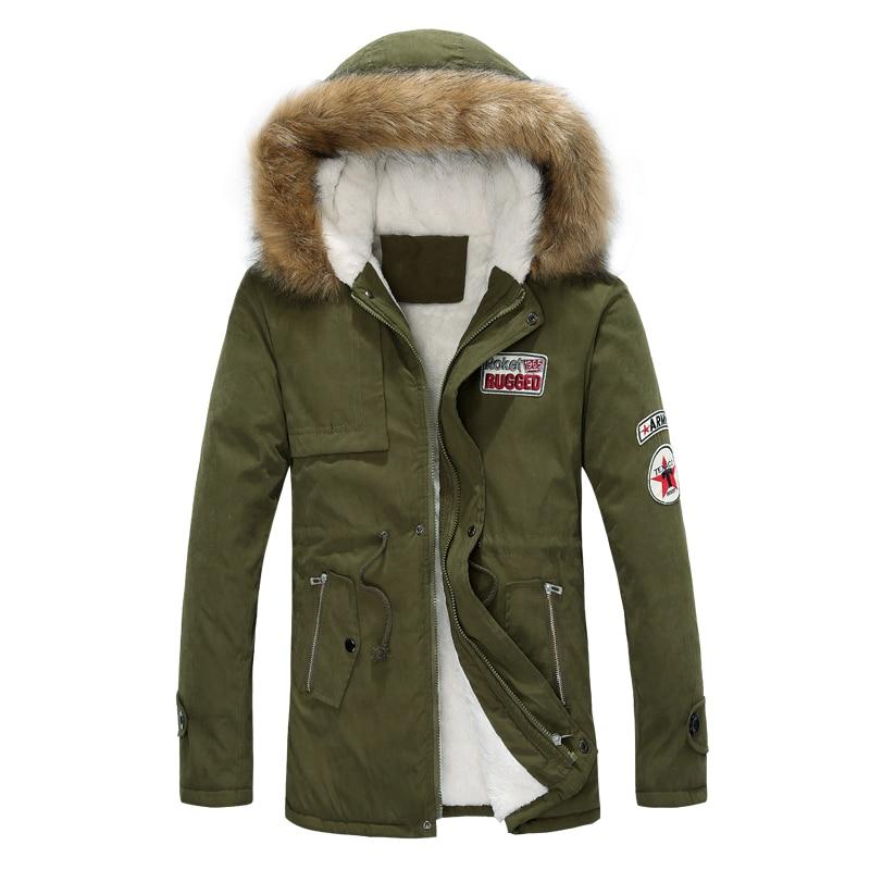 ФОТО new fashion men winter jacket fur collar casual outwear military coat outwear 4XL 5XL CCL31