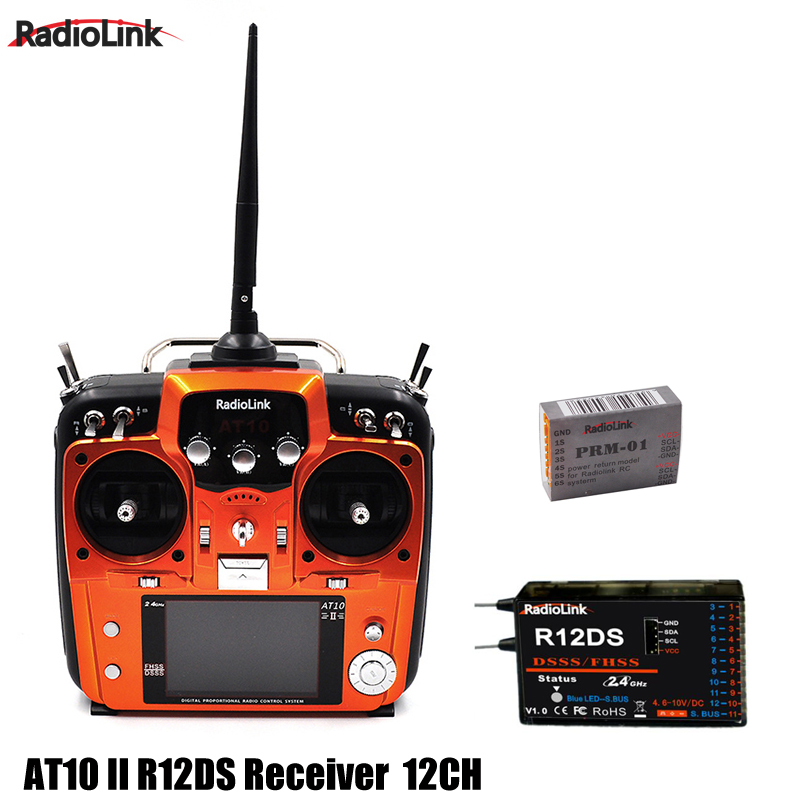 RadioLink AT10 II RC Transmitter 2.4G 12CH Remote Control System with R12DS Receiver for RC Helicopter graupner mz 12 radio controller rc transmitter 2 4ghz 6 ch remote control system with gr 18 receiver for rc airplane helicopter