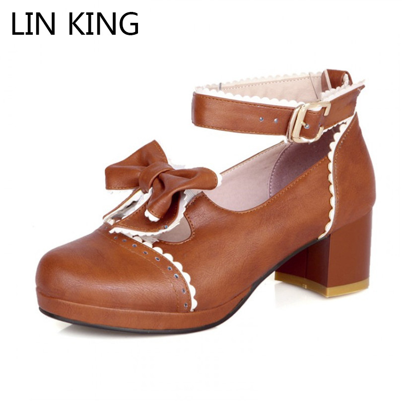 LIN KING Fashion Mary Janes Women Pumps Cute Bowtie Lolita Shoes Square Heel Pumps Round Toe Cosplay Party Shoes Big Size 42 цена