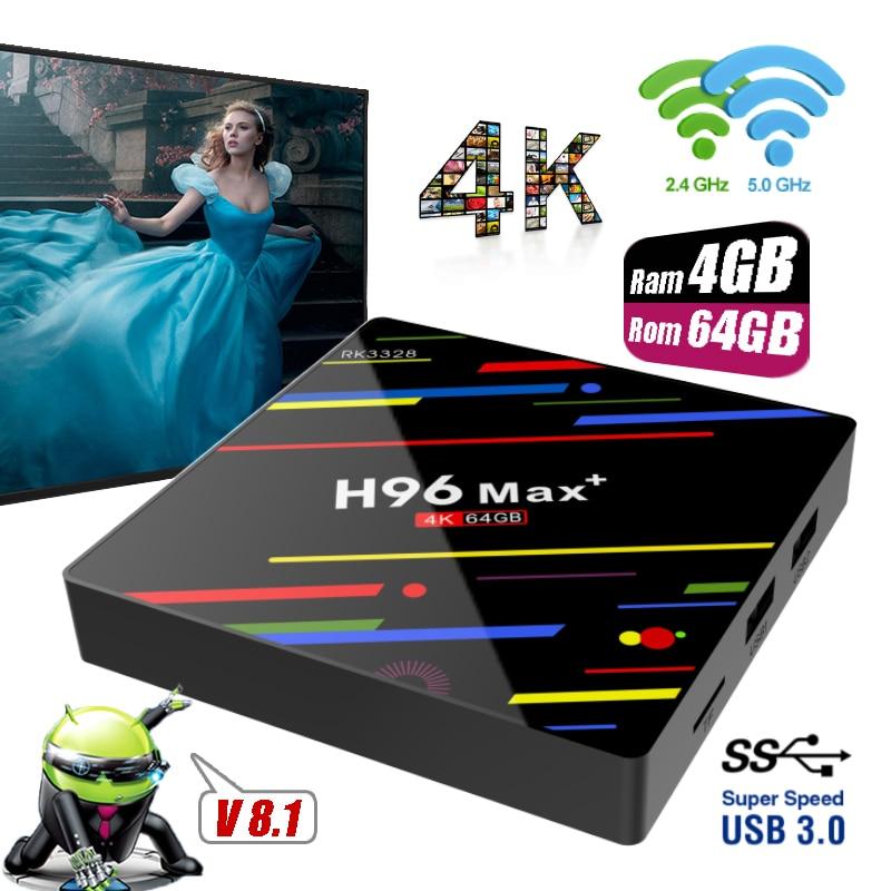 H96 Max + Plus Ram 4GB Rom 64GB 32GB Android 8.1 Smart TV Boxes Dual Wifi USB 3.0 Set-top Box 4K Ultra HD H.265 Media Player STB h96 max plus tv box android 8 1 4gb 32gb 64gb set top boxes rk3328 quad core 4k ultra hd h 265 usb 3 0 wifi 2 4g media player