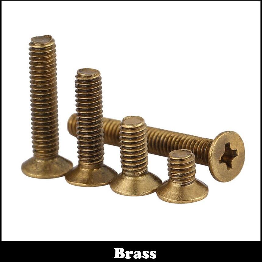 M4 M4*20 M4x20 M4*25 M4x25 M4*30 M4x30 DIN966 Brass Bolt Philips Cross Recessed Countersunk CSK Flat Head Machine Screw 20 4