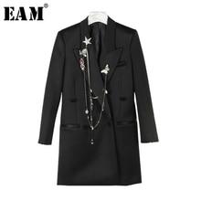 [EAM] High Quality 2018 Autumn Black Badgess Chains Decoration Mid Long Section Suit Coat  Fashion New Women's LA410