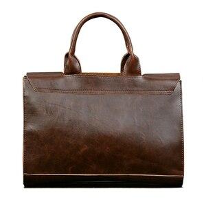 Image 2 - 2020 gorąca walizka biznesowa torba męska szalona końska skóra przekrój torebka męska torba na ramię torba na komputer