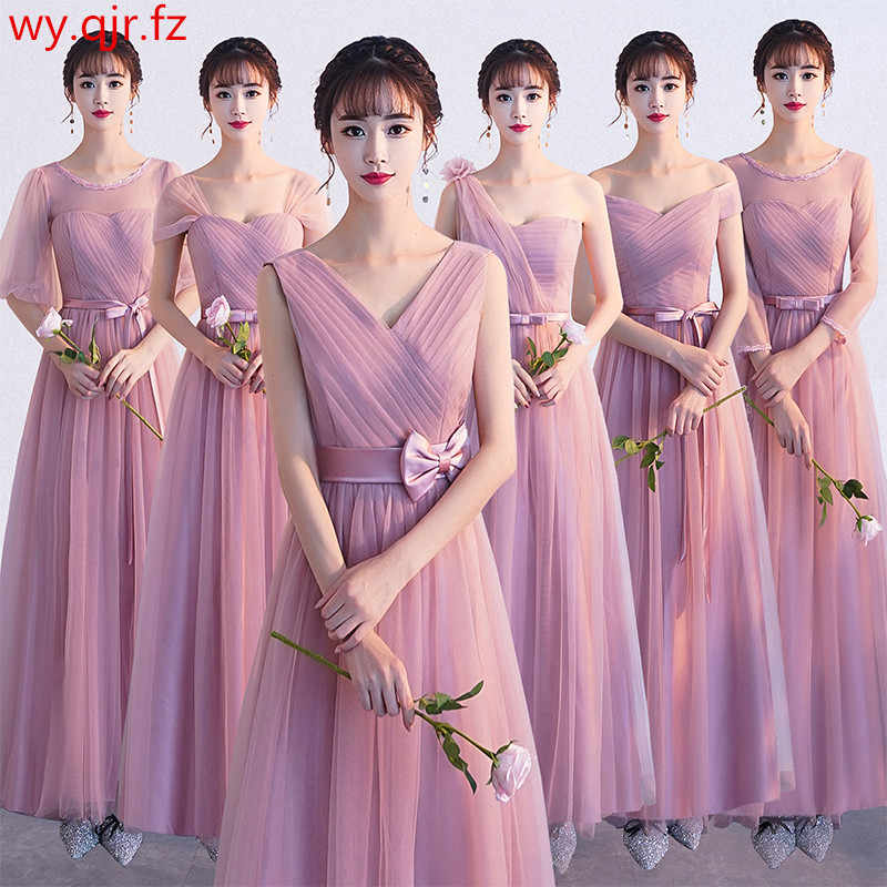 ASN58#V-neck Bow Pale Mauve Lace up Bridesmaid Dresses Long Wedding Party  Dress Prom Gown Wholesale Cheap women's clothing China