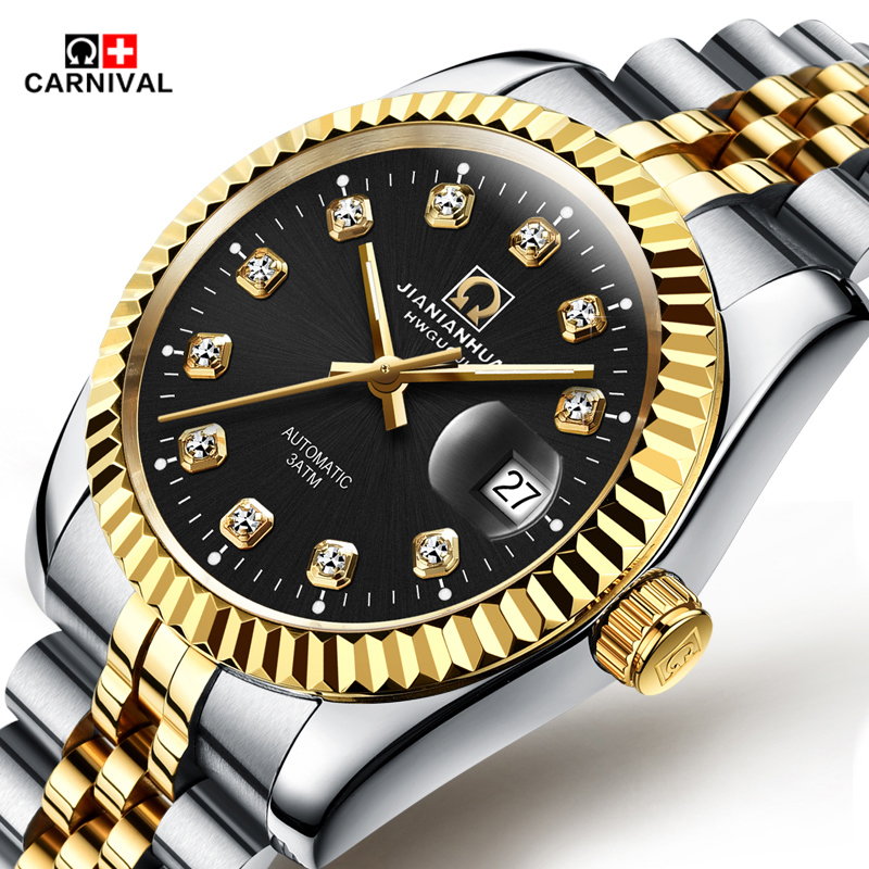 ФОТО 2016 New automatic Mechanical Watches male Business Watches Men Luxury Brand Carnival Wristwatches Gold Black Casual clock hours