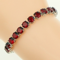 Red Created Garnet White Topaz Jewelry 925 Sterling Silver Link Chain Bracelet 7 Inch For Women
