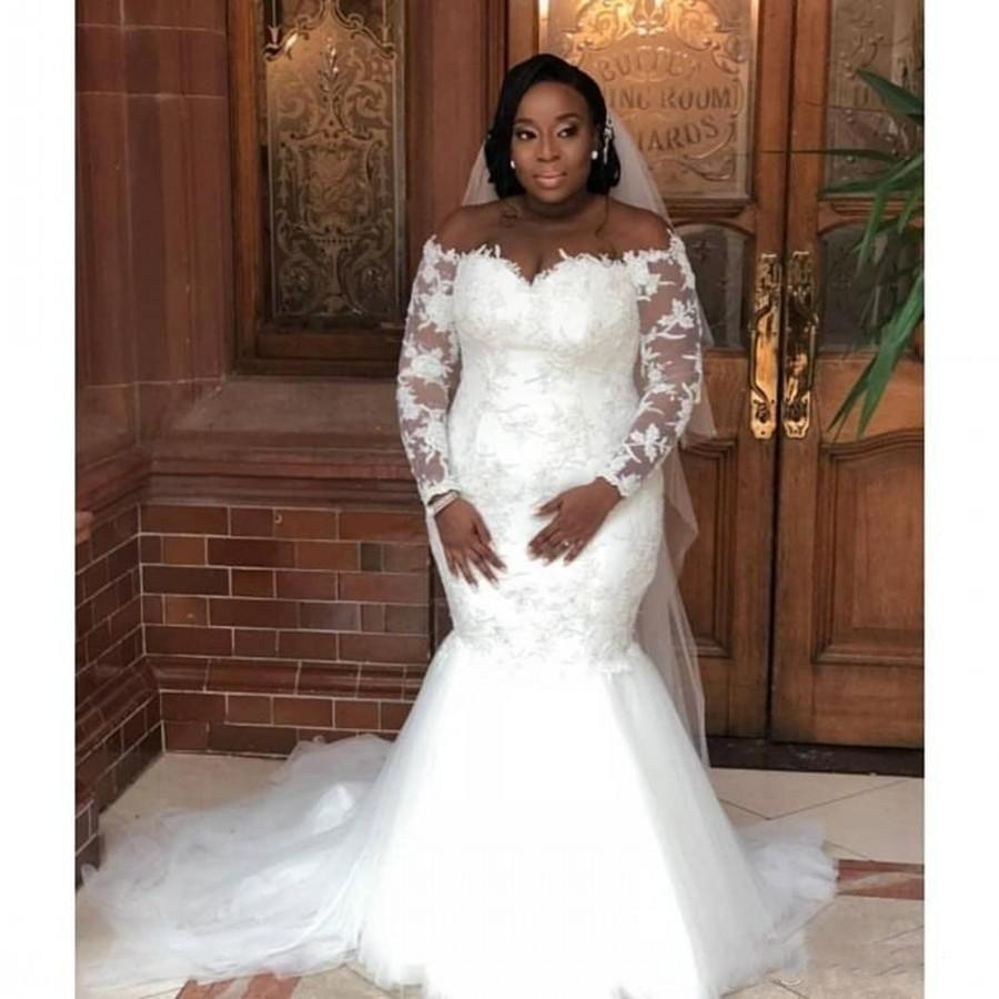 south african plus size long sleeves mermaid wedding dresses off the  shoulder lace sheer bridal gowns tulle robe de mariee