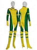 ירוק וצהוב rogue x-man סופר hero חליפה מערער לייקרה ספנדקס בגד גוף לא הוד ליל כל הקדושים המפלגה קוספליי