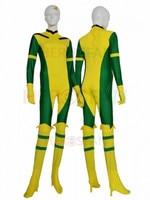 Rogue X Man Green and yellow Super Hero Lycra Spandex Catsuit No Hood Halloween Party Cosplay Zentai Suit