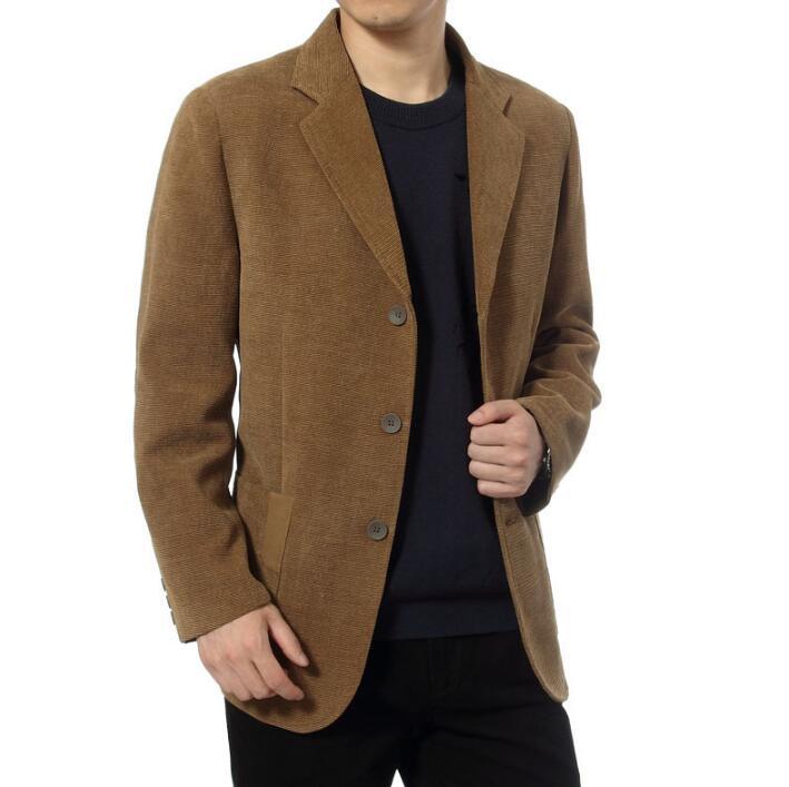 Affari Abito Da Uomo Casuale Giacca Di Velluto A Coste Degli Uomini Di Mezza Età Giacca Masculino Slim Fit Jaqueta Masculina Cappotti Uomo Abbigliamento Khaki