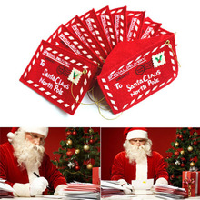 100 Pcs / lot Non-woven fabrics Merry Christmas Envelope Candy Gift Bag for Children Santa Claus Gifts Embroidery XMAS Ornament