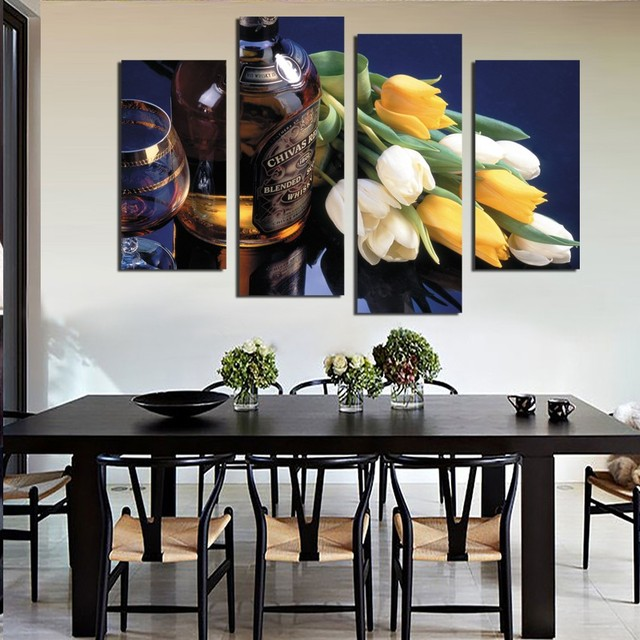 4 Piece Beautiful Tulip Flowers Wine Painting Modern Home Wall Decor Dining  Room Canvas Art HD