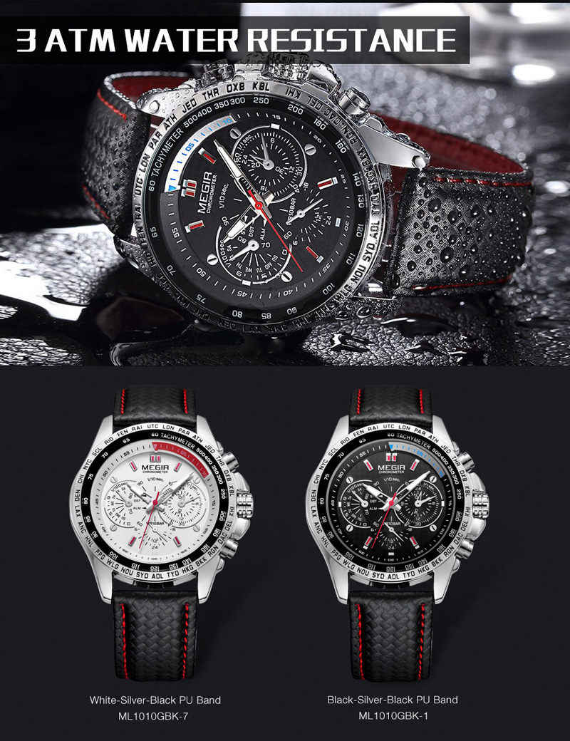 9b5ea85f7205 ... MEGIR Mens Watches Top Luxury Brand Male Clocks Military Army Man Sport Clock  Leather Strap Business ...