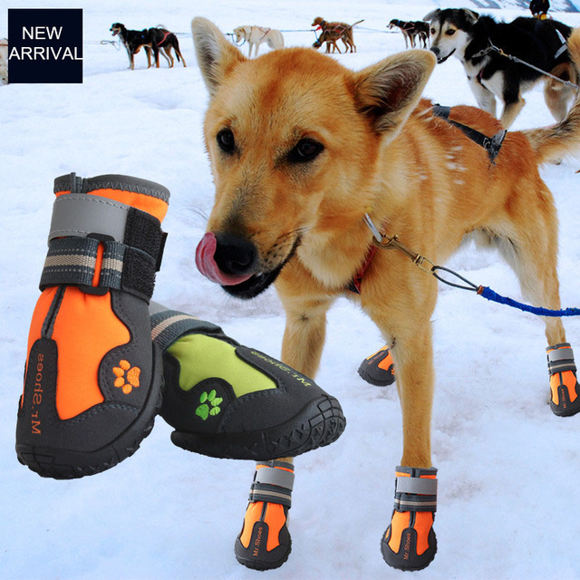 Waterproof Black Dog Shoes For Large Dogs Anti-slip Shoes Hiking Dog Clothing & Shoes For Yorkshir Orange Winter Shoes For Dogs 3