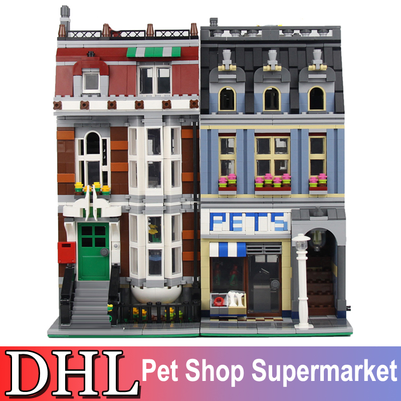 2018 New 2082Pcs City Creator Street Figures Pet Shop Building Model Blocks Bricks Set Kids Toys For Children Compatible 10218 lepin 15009 city street pet shop model building kid blocks bricks assembling toys compatible 10218 educational toy funny gift