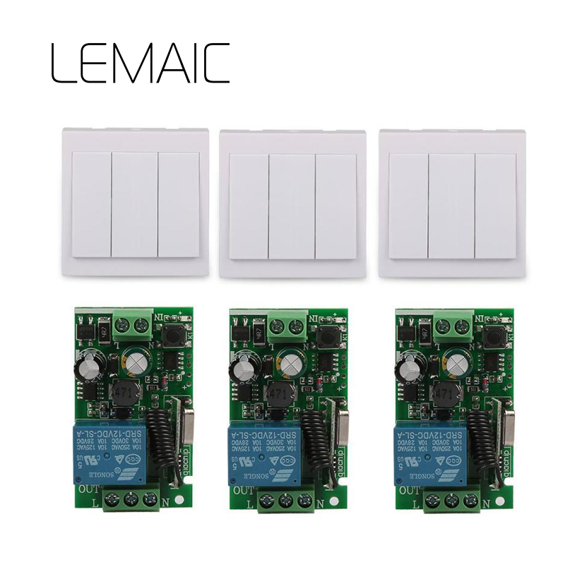 LEMAIC 433Mhz Universal Wireless Remote Control Switch AC 110V 220V 1CH Relay Receiver Module and RF 86 Wall 3CH Remote Control ac 220v wireless remote control switch remote switch system 1ch relay module receiver