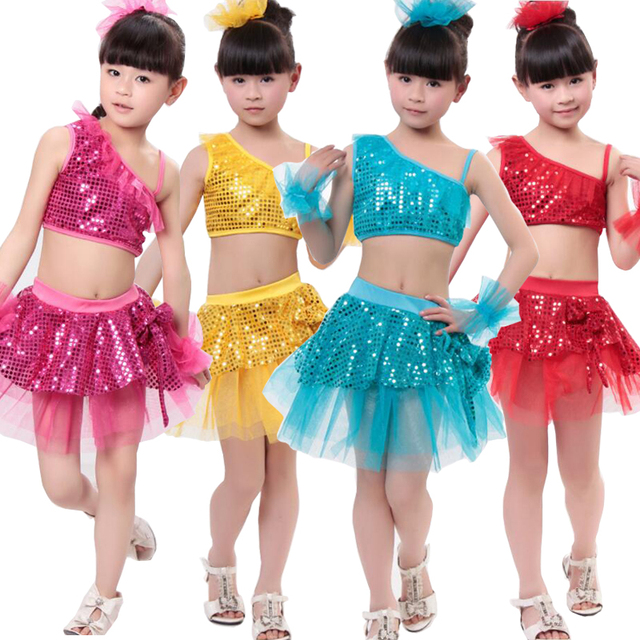 dcb5e7a053e4 Girls Ballroom Sequined Dance Tops+Skirt Kids Party Jazz Hip Hop ...