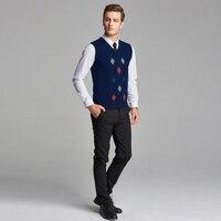 2016 New Design Mens Argyle Sleeveless Pullover Sweater V Neck Man Wool Sweater Vest