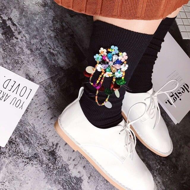 Новый Прибыл Корейский Стиль Ручной Работы Из Бисера Кистями Блестками Дрель Женщины Мода Повседневная Носки