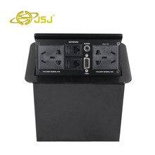 JSJ Многофункциональный пневматические pop-up Desktop socket стол RJ45 + + 3.5 + VGA мультимедийный микрофон сетевой кабель коробка