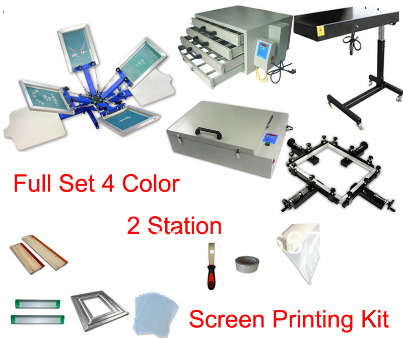 Free shipping full set 4 color 2 station t-shirt screen printing kit press printer machine flash dryer UV expsoure stretcher 1pc single color screen printer t shirt screen printing machine 24 30cm flat printing press