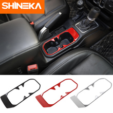 SHINEKA Modanature interne Anteriore Dell'automobile di Scarico Supporto di Tazza Cornice Decorativa Adesivi Per Jeep Wrangler Accessori JL 2018 + Avanzata