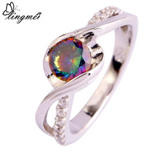 цены Free Shipping New Mysterious Rainbow Topaz White Topaz 925 Silver Jewelry Ring Size 6 7 8 9 10 11 12 Wholesale Women Rings