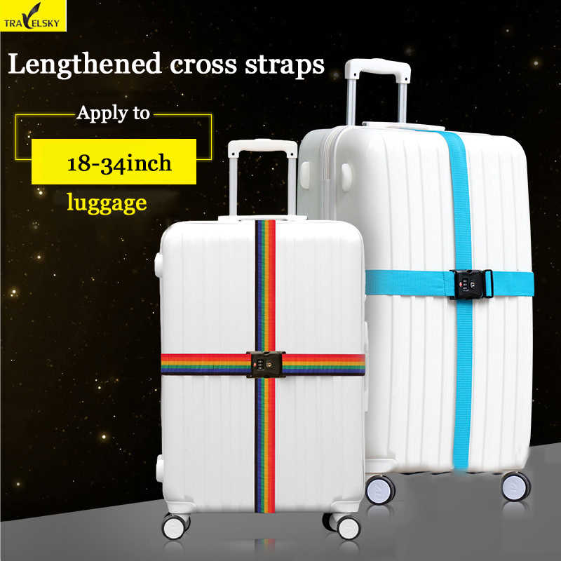 "Travel luggage strap Adjustable Strong Nylon cross Belt for 18""-34"" Suitcase TSA/3 layer password lock/ Buckle Cross Straps"