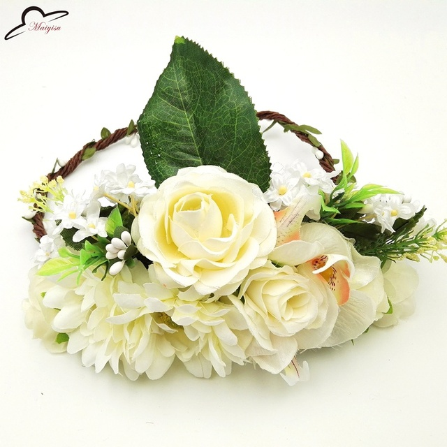 Women Wedding Decoration Rose Flower Girl Hair Wreath Floral Headband Head  Wreath Flower Crown Flower Garland 41b9ad9518d
