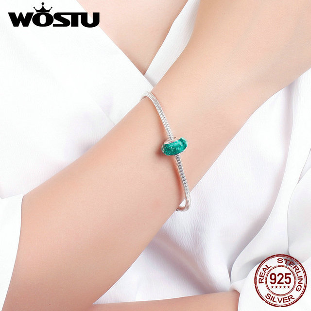 Hot Sale 100% 925 Sterling Silver Fascinating Green Murano Glass Beads Fit Original WST Bracelet European Jewelry CQZ030
