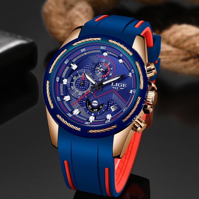 LIGE New Men Watches Top Brand Luxury Silicone Strap Waterproof Sports Chronograph Quartz Wrist Watch Relogio Masculino