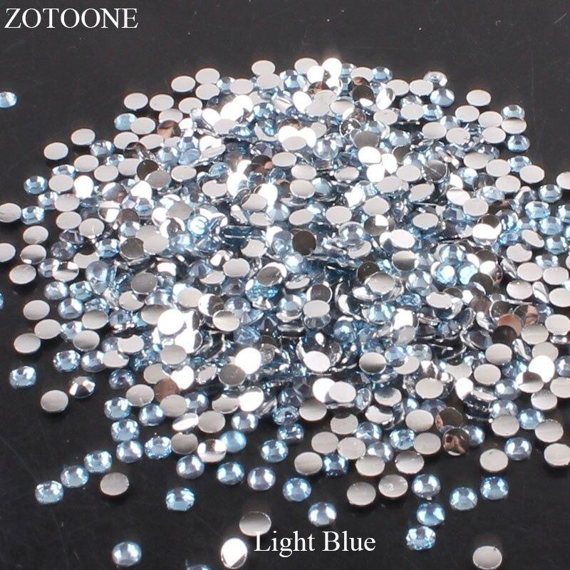 ZOTOONE 2-6 мм 1000 шт прозрачные Стразы AB без горячей фиксации плоские с оборота Стразы для ногтей для одежды ногти 3D дизайн ногтей украшения - Цвет: Light Blue