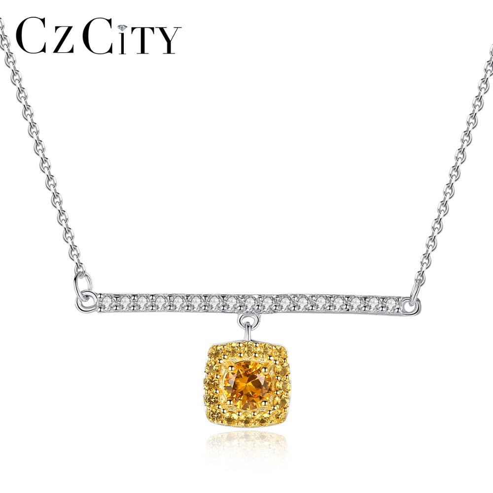 CZCITY Real 925 Sterling Silver Link Chain Necklace&Pendant Citrine Golden Necklaces Fasinating Fine Jewelry Colar Feminino 2018CZCITY Real 925 Sterling Silver Link Chain Necklace&Pendant Citrine Golden Necklaces Fasinating Fine Jewelry Colar Feminino 2018