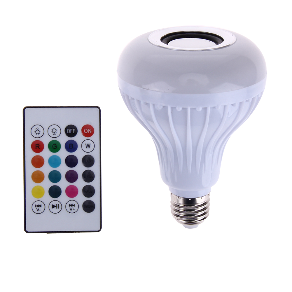 Intelligent E27 LED Lamp White + RGB Light Ball Bulb Wireless Bluetooth Remote Control Mini Smart Music Audio Speaker smart bulb e27 led rgb light wireless music led lamp bluetooth color changing bulb app control android ios smartphone