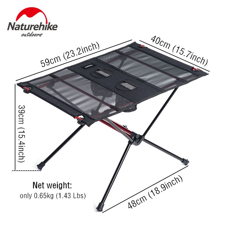 Naturel randonnée léger pliable en aluminium Portable retrousser en plein air pliant Table de Camping Patio en métal pliable Table de pique-nique - 5