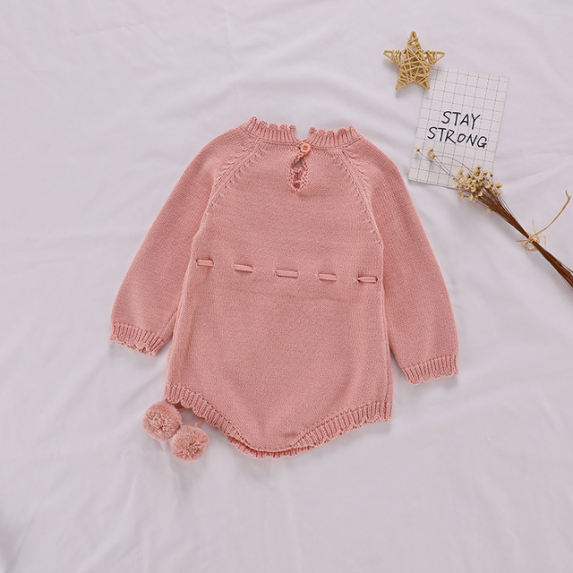 Autumn Baby Knitted Rompers Sweater Baby Girl Long-sleeve Knitted Overalls Infant Girl Princess Cotton Clothes Baby Girl Romper 3