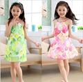 Muchachas de los cabritos vestido suspenser gasa impresa floral sin mangas de la princesa vestido para la fiesta de cumpleaños de la muchacha vestido de tirantes de Verano