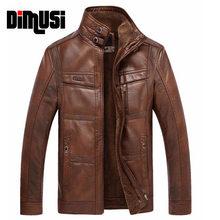 DIMUSI-chaqueta de cuero sólido grueso para hombre, forro polar térmico, ropa informal con cuello levantado 5XL,YA512