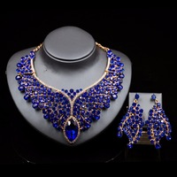 New Fashion Gold Color Big Pink Crystal Bridal Jewelry Set For Bride Necklace Earring Wedding Party Accessories Gift For Women