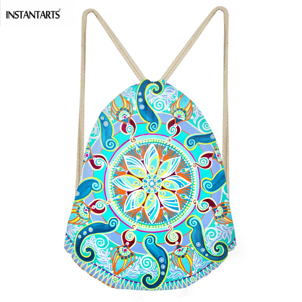 INSTANTARTS Fashion Woman Drawstrings Bags Pretty Indian Mandala Print Female Backpacks Casual Softback Beach Storage Sack Bags