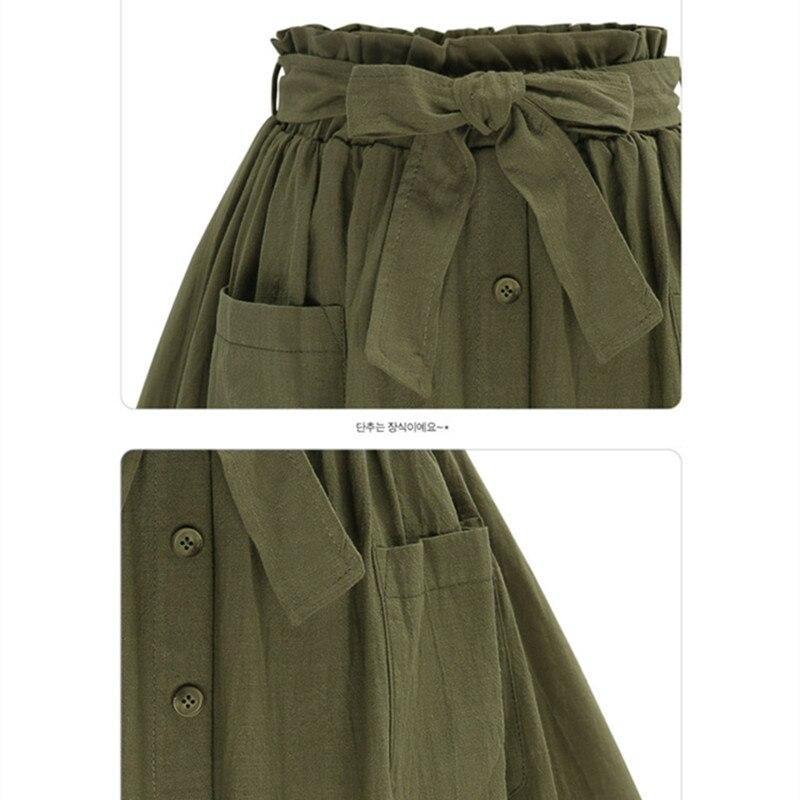 Hzirip wanita rok vintage pinggang tinggi saku padat busur sabuk midi - Pakaian Wanita - Foto 6