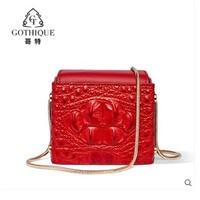 Гете крокодиловой кожи сумка для женщин 2019 Новая мода квадратная мини тенденция вечерний наряд крокодиловой кожи сумка с черепом для женщи
